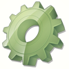 Abstract illustration: a dusty-green cog.