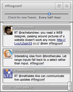 The TwitterSearch dialog, viewed in Opera 11 for Mac OS X